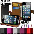 FLIP WALLET REAL LEATHER CASE COVER FITS APPLE IPHONE 5 FREE STYLUS PEN
