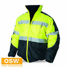 MEN WOMENS HI VIS ORANGE/YELLOW/LIME BOMBER WINTER WARM REFLECTIVE SAFETY JACKET