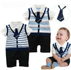 Boys Baby Kids Romper Pants Striped 1Pcs SZ3-24M Outfit Jumpsuit Bowtie Clothing
