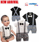 Baby Boy Smart Casual Outfit, White / Black Shirt & Suspender Pants 0 6 12 18 M