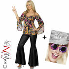 Ladies Hippie Costume Flares & Top 60s 70s Hippy Fancy Dress 8-22 ADD Shades