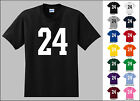 Number 24 Twenty Four Sports Number Youth Jersey T-shirt Front Print