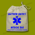 Childrens Personalised Medication Drawstring Medical Allergies Bag Boys & Girls