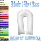 9ft P/C COMFORT U/V PILLOW + 2 PILLOW CASES Maternity/Pregnancy/Nursing/Mobility