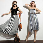 New Fashion Women Sheer Chiffon Mixed Striped Maxi Long Skirts Full length Dress