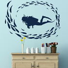 Scuba Diver Removable Vinyl Decal / Art Decor Wall Transfer /  Wall Decal RA10