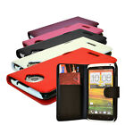 6 COLOUR PU LEATHER MOBILE PHONE WALLET FLIP CASE COVER FOR HTC ONE X / X PLUS