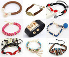 Lots Fashion New Mixed Styles Colors Beads Cords Leather Rubber Link Bracelets