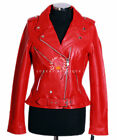 Ladies Brando Red Women's New Biker Style Fashion Real Cowhide Leather Jacket