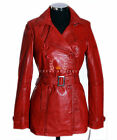 Felicia Red Waxed Ladies Womens Smart Casual Lambskin Leather Jacket Trench Coat