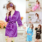 Sexy Womens Lingerie Satin Lace Sleepwear Lingerie Nightdress Robe Gown G-string