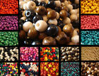 400 WOODEN ROUND WOOD BEADS 6MM WIDE 5MM HIGH 2MM HOLE MANY COLOURS