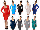 Sexy Long Sleeve Stretchy Jersey V Neck Dress ♥ UK Size 8-14 ♥ ~1004~