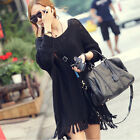 Women Long Loose Irregular Knit Pullover Tassel Tops Knitwear Sweater 2 Colors