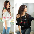 Fashion Women Casual One Off Shoulder Dolman Sleeve Tops T-Shirt Blouse 4 Colors
