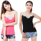 Lace Flower Crochet Ribbed Tank Top  Casual Cami Sleeveless T-shirt Cami 7 Color