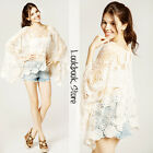 Women Vintage Oversize Beige Batwing Floral Cut Out Lace Crochet Cape Top Shirt