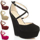WOMENS LADIES HIGH HEEL WEDGE PLATFORM PEEP TOE ANKLE STRAP SANDALS SHOES SIZE