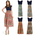 New Women Flower Print Bohemia Style Sleeveless Vest Maxi Long Dress 4 Colors