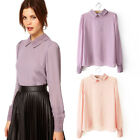 New Women Elegant Lapel Collar Sheer Lace Chiffon Long Sleeve Shirt Tops Blouses