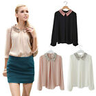 Womens Loose Puff Sleeve Gold Sequins Chiffon Lapel Collar Shirt Top Blouse