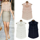 Fashion OL Style Women Sleeveless Summer Chiffon Tiered Shirt Blouse Top S-XL