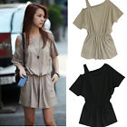 Womens Sexy Summer Short Sleeve Strapless Short Pants Casual  Rompers Jumpsuits