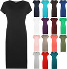 New Womens Plus Size Plain Short Sleeve Stretch Ladies Jersey Midi Dress 16 - 26