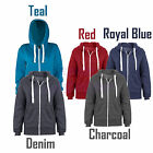 Unisex Plain American Fleece Zip Up Hoody Sweatshirt Hooded Jacket Size S M L XL