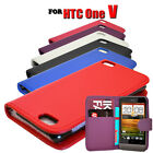 NEW 6 COLOUR PU LEATHER WALLET BOOK FLIP MOBILE PHONE CASE COVER FOR HTC ONE V