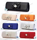 SILVER NUDE BLACK BLUE RED IVORY ORANGE Satin Bow Crystal Clutch Evening Bag 092