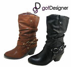 NEW Womens Shoes Mid Calf Mid heel Boots Black Tan Leather Casual Buckle 5.5-10