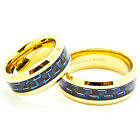 Matching 8mm 18k Gold Plated Black & Blue Carbon Fiber Tungsten Rings
