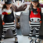 New Size 2-7Y Casual Girls Pants Kids Loose Style Cat Bib Overalls Pants PG017