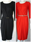 SIZES 8-18  RUCHED 3/4 SLEEVES,KNEE LENGTH,PENCIL DRESS OFFICE/CASUAL WEAR