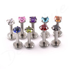 Steel Labret CZ 'ROUND' CLAW-SET 3mm STONE Internal Thread  lip Tragus Bar Stud