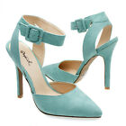 Green Pointed Toe Ankle Strap Slingback Buckle Stiletto High Heel Pump US 5-10