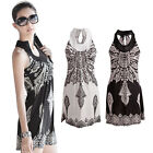 Women Slim Retro Boho Ethnic Pattern Halter Sleeveless Mini Dress Vest