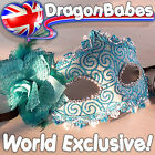 BLUE GLITTER VENETIAN STYLE CARNIVAL MASQUERADE PARTY MASK BALL HEN PARTY