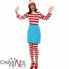 Where's Wally Wenda Female Womens Ladies New Fancy Dress Costume Size UK 4 - 22