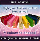 Fashion Wallet iphone mobile holder double high SHINE quality zip Black Red Blue