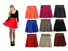 Ladies Belted Skater Flared Plain Jersey Stretch Waist Girls Mini Skirt Dress