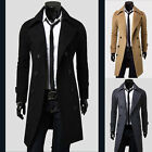 Muscle Mens Trench Coat Slim Winter Warm Long Jackets Double Breasted Overcoat #