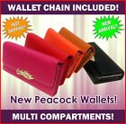 Fashion Wallet peacock NEW multi pockets chain clip high quality pink red black