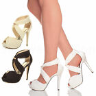 WOMENS LADIES WEDDING PARTY PROM HIGH HEEL PLATFORM SANDALS BRIDAL SHOES SIZE