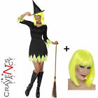Smiffys Ladies Neon Green Witch ADD Wig Halloween Fancy Dress Costume Horror 80s