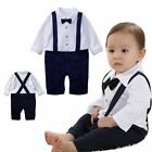 Boys Baby Romper 1Pcs 3-24M Outfit Set Jumpsuit Tuxedo Bowtie Bib Pants Clothing