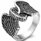 Gothic Punk Eagle Wing Round Wheel Biker Men's Stainless Steel Ring Size 8-11