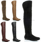 WOMENS LADIES OVER KNEE HIGH FOLDOVER LOW HEEL ZIP RIDING PIRATE BOOTS SIZE