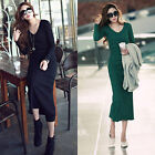 2013 Elegant Sexy Slim Women Long Sleeve Cotton Round Neck Dress Pencil Skirt